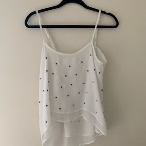 Sheer tank with metal grommets